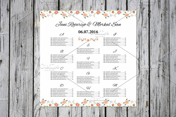 Wedding seating chart poster stationery templates creative market