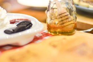 Ice cream and a jar of honey