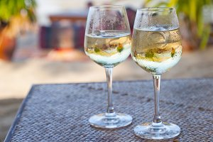 Glasses with white wine