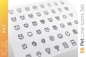 Pet Line Icons Set