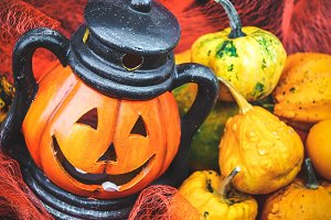 Halloween pumpkin with decoration #4