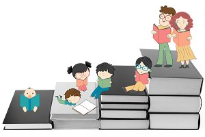 Boys and girls reading on books