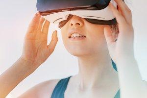 Woman using the virtual reality