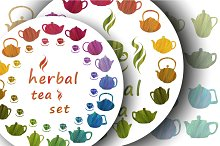 Herbal teapots set.
