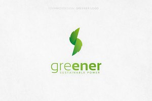 Greener Thunderbolt Leaf Logo