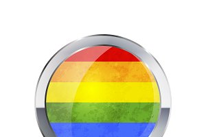 Round glossy icon of LGBT flag