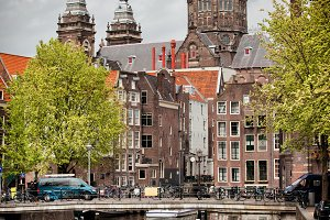 Old Town of Amsterdam in Holland