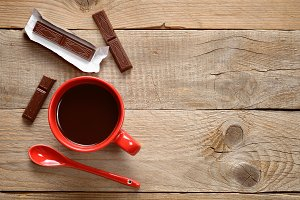Coffee cup with chocolate