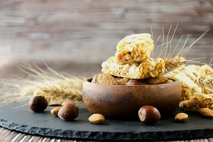 Cereal bar with nuts, selective focus