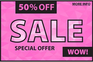 Sale banner in pink color