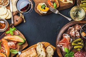 Italian antipasti wine snacks set