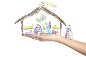 Christmas greeting card Nativity