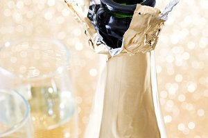 Champagne bottle with glass cups