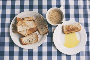Toast, coffee and olive oil