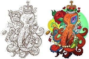 Octopus. Tattoo sketch