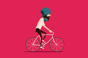 Vector hipster riding bicycle