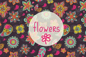 Vector doodle flowers patterns.