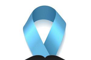 Blue ribbon with moustache