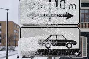 Road signs parking. Winter