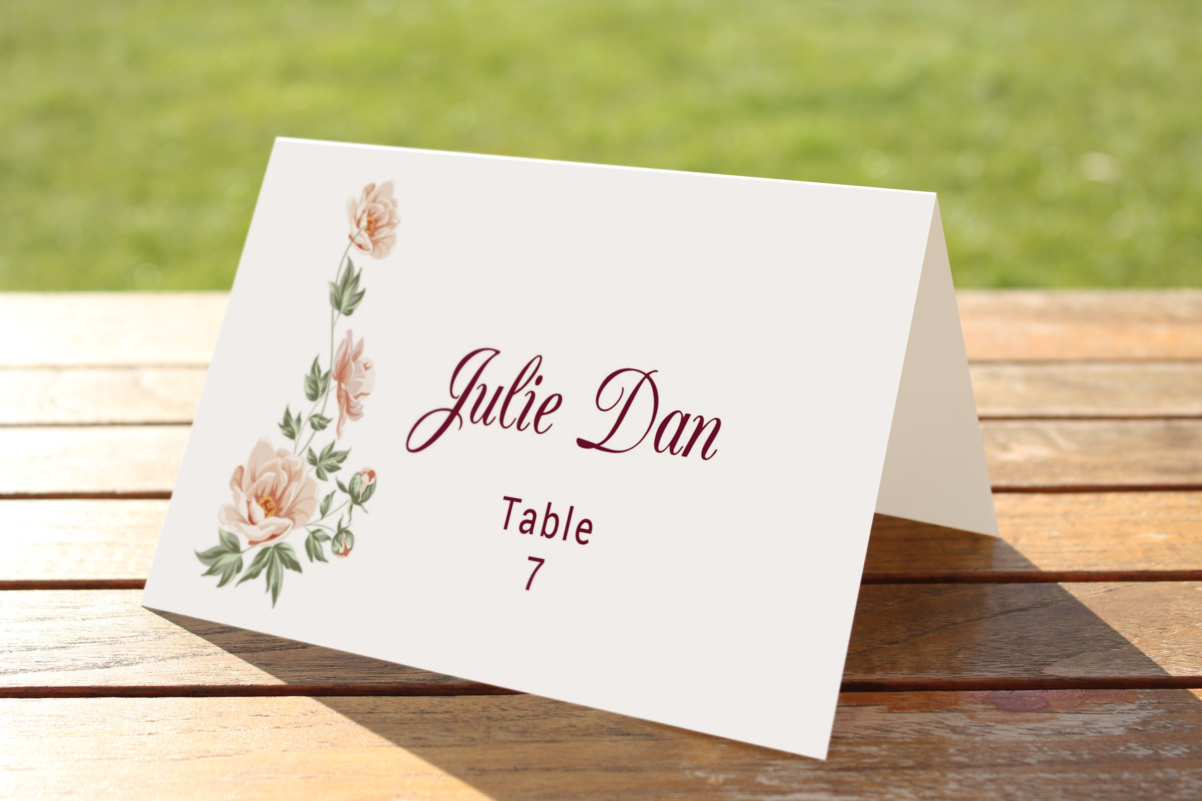 Wedding table place card template card templates for Design table name cards