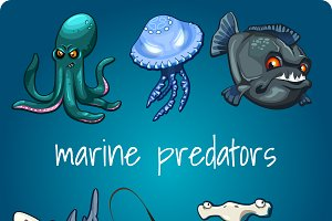 Collection of six marine predators