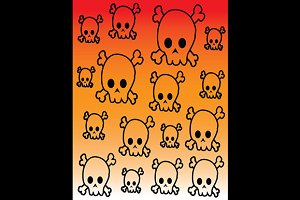 Simple cartoon skulls pattern vector
