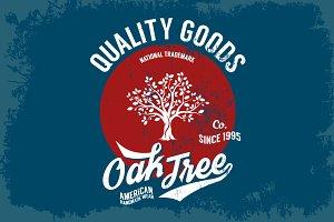 Vector vintage oak tee print