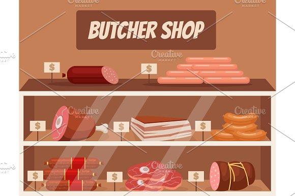 Meat market. Butcher shop - Illustrations