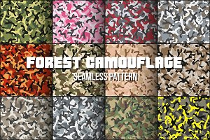 Set ofForest Leaf Camouflage Pattern
