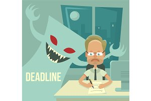Deadline monster and office worker
