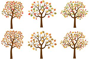 Autumn trees, Fall clipart