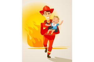 Fireman character carrying child