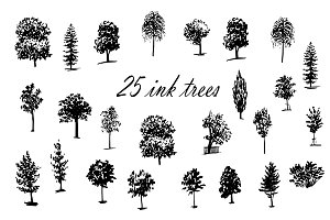 25 ink sketch trees