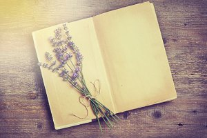Lavender and old book