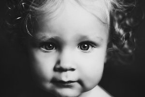 little girl black and white portrait