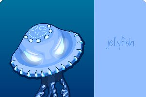 Blue jellyfish with eyes