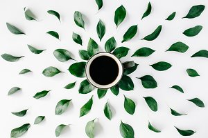 Coffee and floral pattern