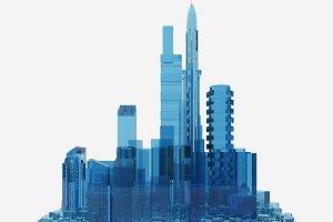 blue glass city. 3d rendering