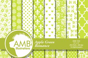 Apple Green Digital Papers 1024