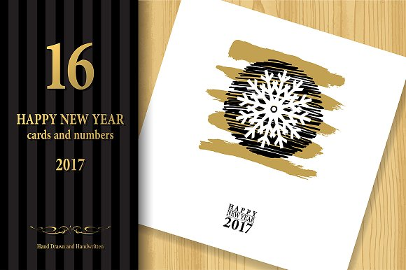 2017 Happy New Year Greeting Cards ~ Graphics ~ Creative Market
