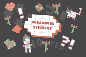 Oldschool stickers set
