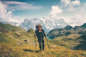 Traveler Man hiking