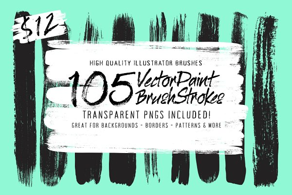 105 Illustrator Paint Stroke Brushe…