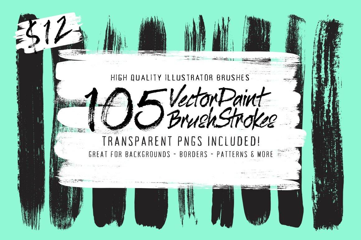 105 Illustrator Paint Stroke Brushes ~ Illustrator Add-Ons