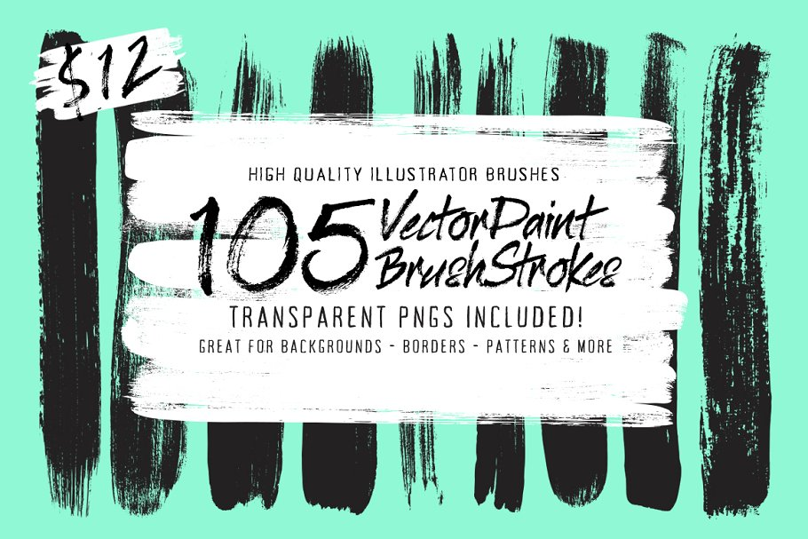 105 Illustrator Paint Stroke Brushes ~ Illustrator Add-Ons