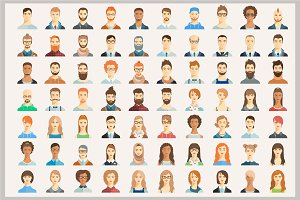Set of avatar icons.  70 portraits.