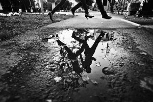 a reflection in a puddle pairs