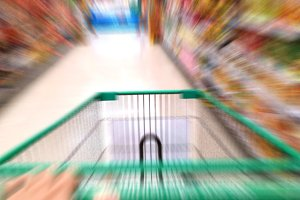 Zoom Effect of Super Market Cart in Hypermarket Store