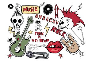 Hand drawn punk stickers.