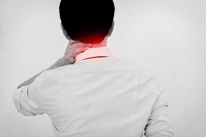 Business Man touching painful neck. Neck Problem Isolated White Background
